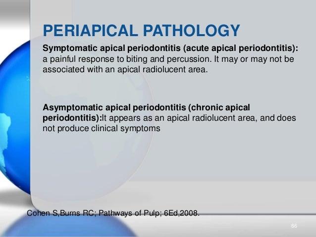 PERIAPICAL PATHOLOGY Symptomatic apical periodontitis (acute apical periodontitis): a painful response to biting and percu...