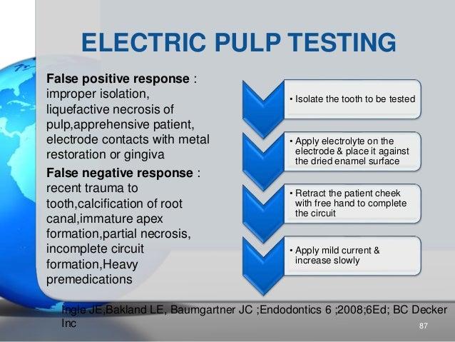 ELECTRIC PULP TESTING False positive response : improper isolation, liquefactive necrosis of pulp,apprehensive patient, el...