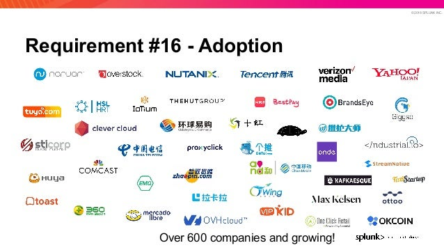 © 2019 SPLUNK INC. Requirement #16 - Adoption Over 600 companies and growing!