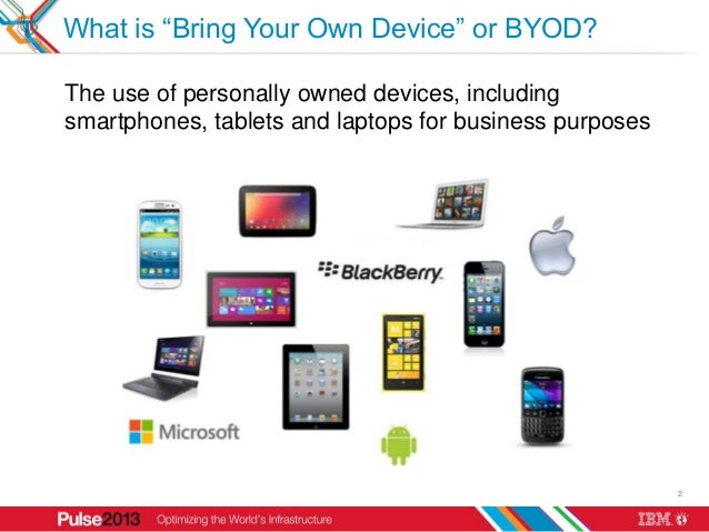 """What is """"Bring Your Own Device"""" or BYOD?The use of personally owned devices, includingsmartphones, tablets and laptops for..."""