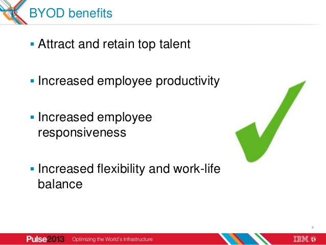 BYOD benefits Attract and retain top talent Increased employee productivity Increased employee responsiveness Increase...