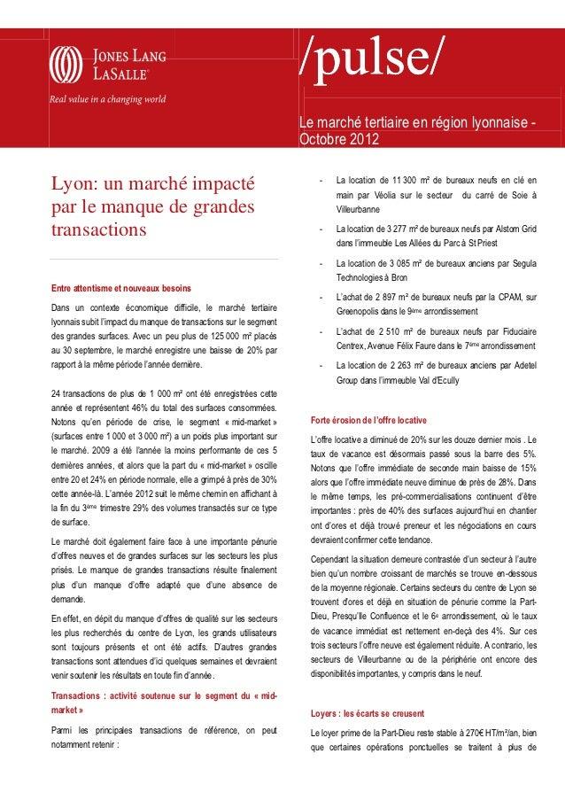 Le marché tertiaire en région lyonnaise -                                                                    Octobre 2012 ...