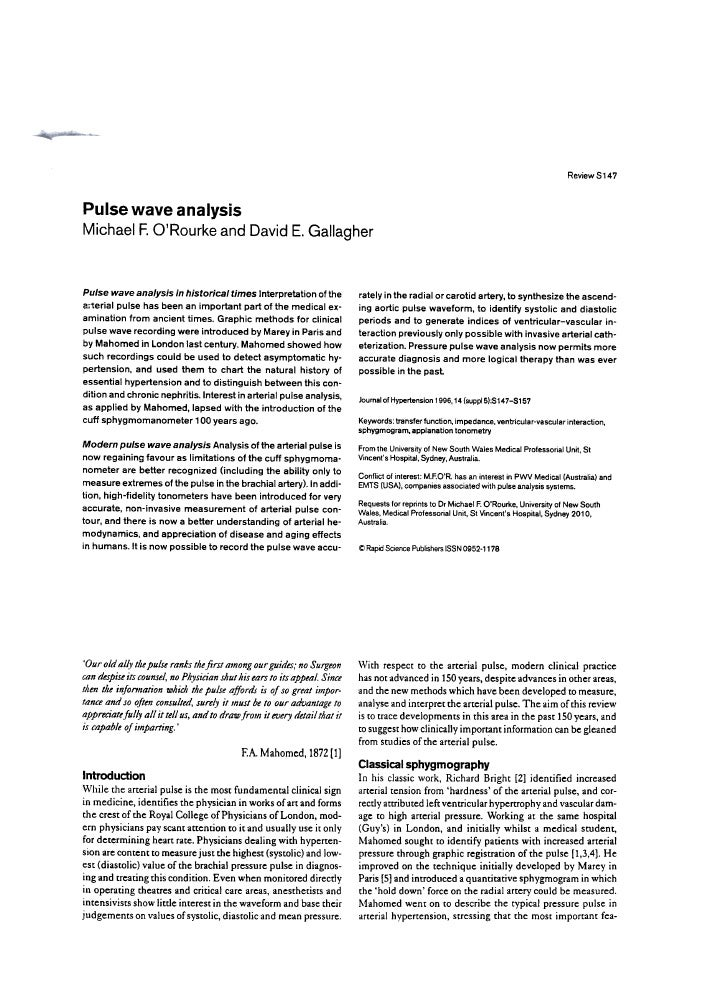 ReviewS147     Pulse          wave             analysis Michael            F. O'Rourke             and David          E. G...