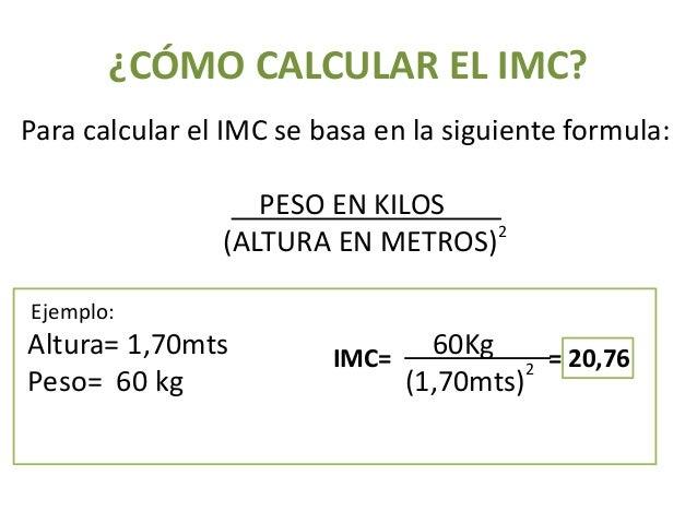 formula calculo imc niños