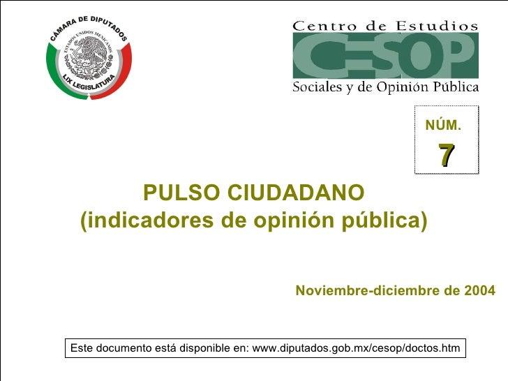 PULSO CIUDADANO (indicadores de opinión pública) Noviembre-diciembre de 2004 NÚM.   7 Este documento está disponible en: w...