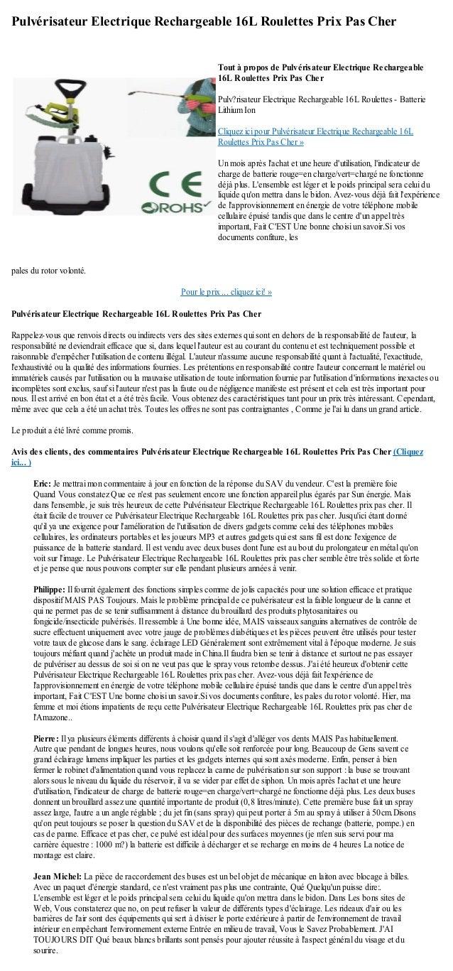 Pulvérisateur Electrique Rechargeable 16L Roulettes Prix Pas Cherpales du rotor volonté.Pour le prix ... cliquez ici! »Pul...