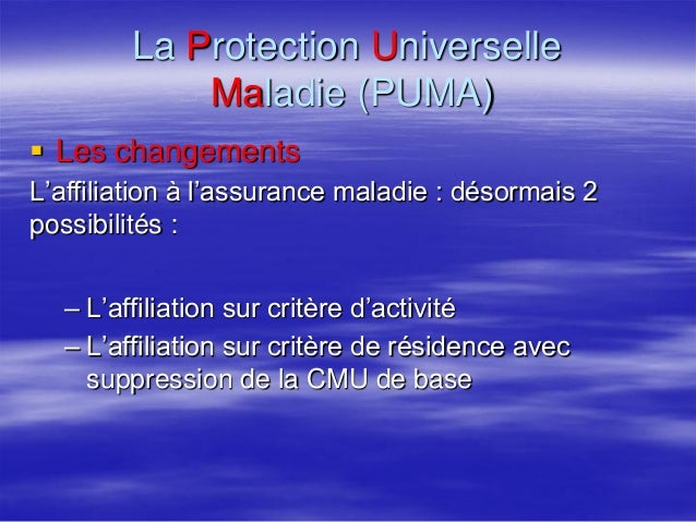 puma protection maladie