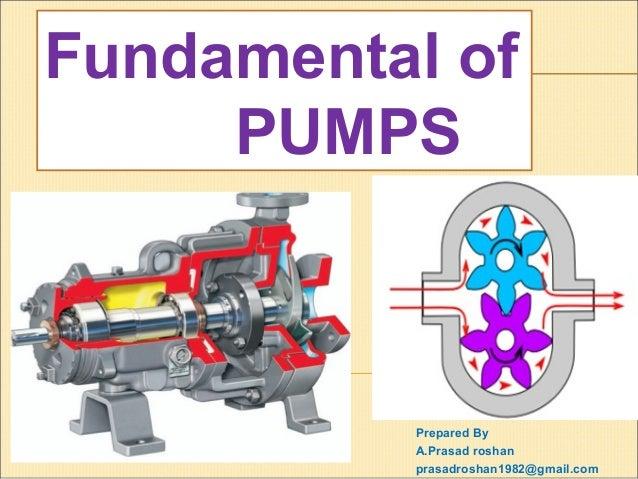 Prepared By A.Prasad roshan prasadroshan1982@gmail.com Fundamental of PUMPS