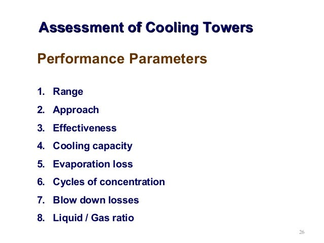 Pump and cooling tower energy performance