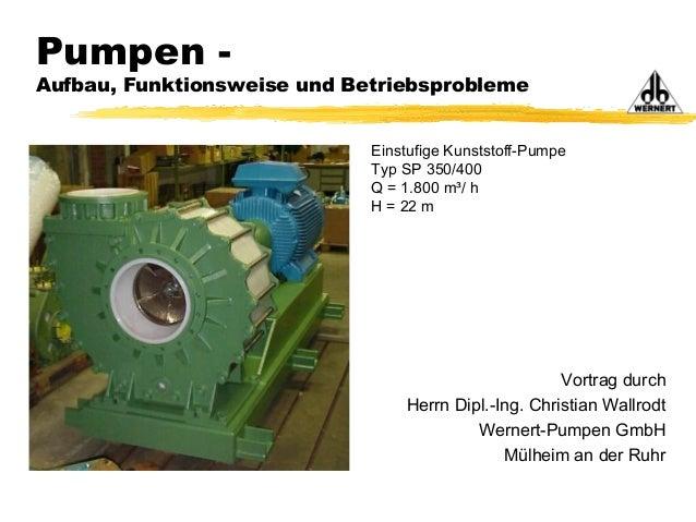 Vortrag durch Herrn Dipl.-Ing. Christian Wallrodt Wernert-Pumpen GmbH Mülheim an der Ruhr Pumpen - Aufbau, Funktionsweise ...
