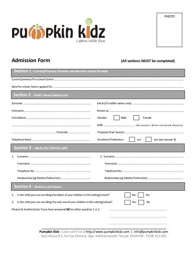 Pumpkin Kidz Admission Form