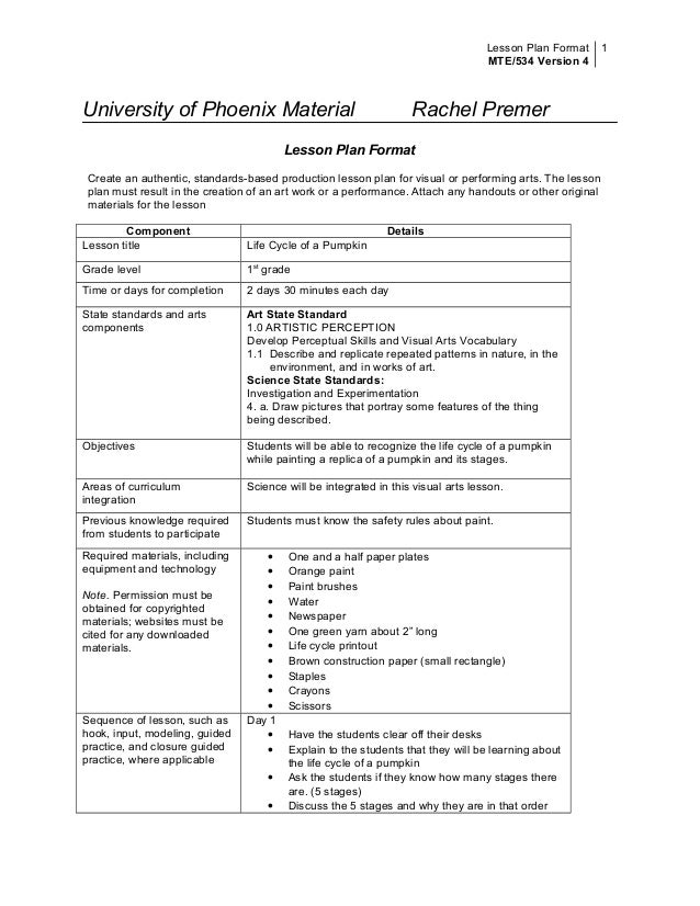 Standard Lesson Plan Format Dolapgnetband