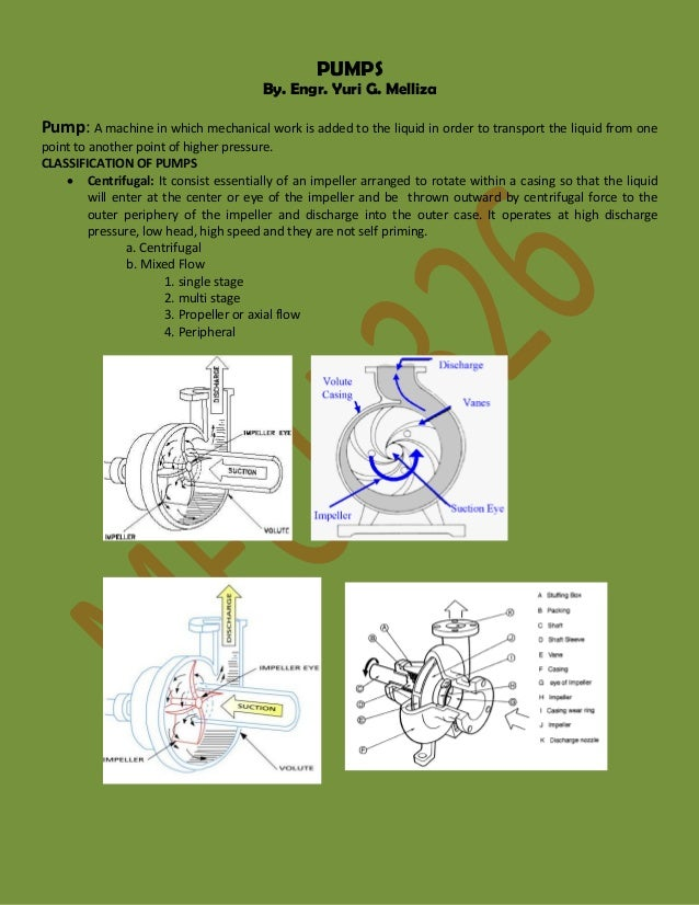 PUMPS  By. Engr. Yuri G. Melliza  Pump: A machine in which mechanical work is added to the liquid in order to transport th...