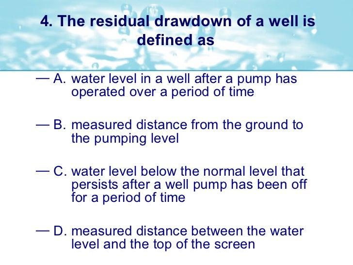 Pumps Pumping Wells Sample Questions