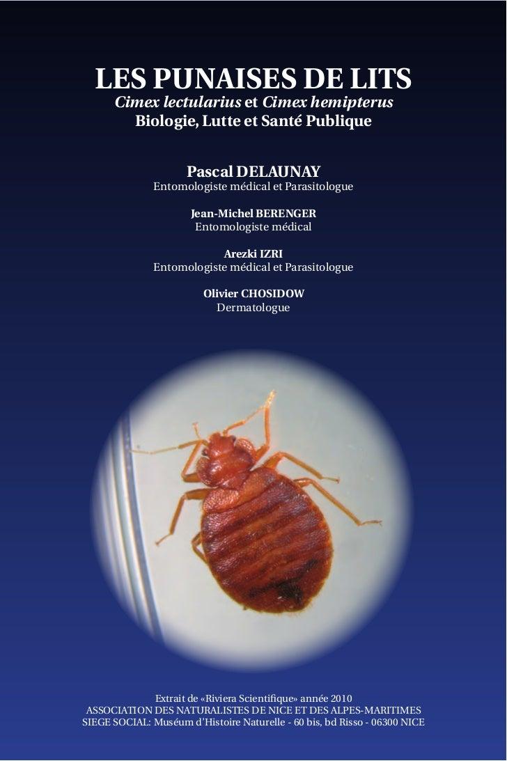 LES PUNAISES DE LITS      Cimex lectularius et Cimex hemipterus        Biologie, Lutte et Santé Publique                  ...