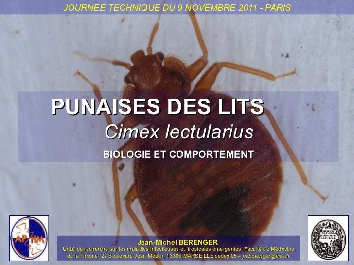 JOURNEE TECHNIQUE DU 9 NOVEMBRE 2011 - PARISPUNAISES DES LITS                Cimex lectularius                BIOLOGIE ET ...