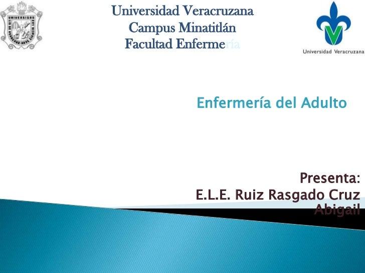 Universidad Veracruzana  Campus Minatitlán Facultad Enfermería             Enfermería del Adulto                          ...