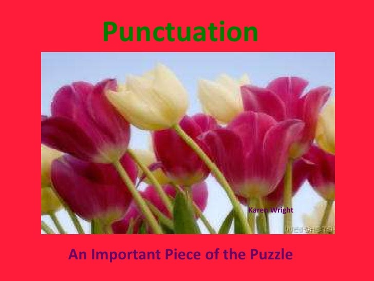 Punctuation                         Karen WrightAn Important Piece of the Puzzle