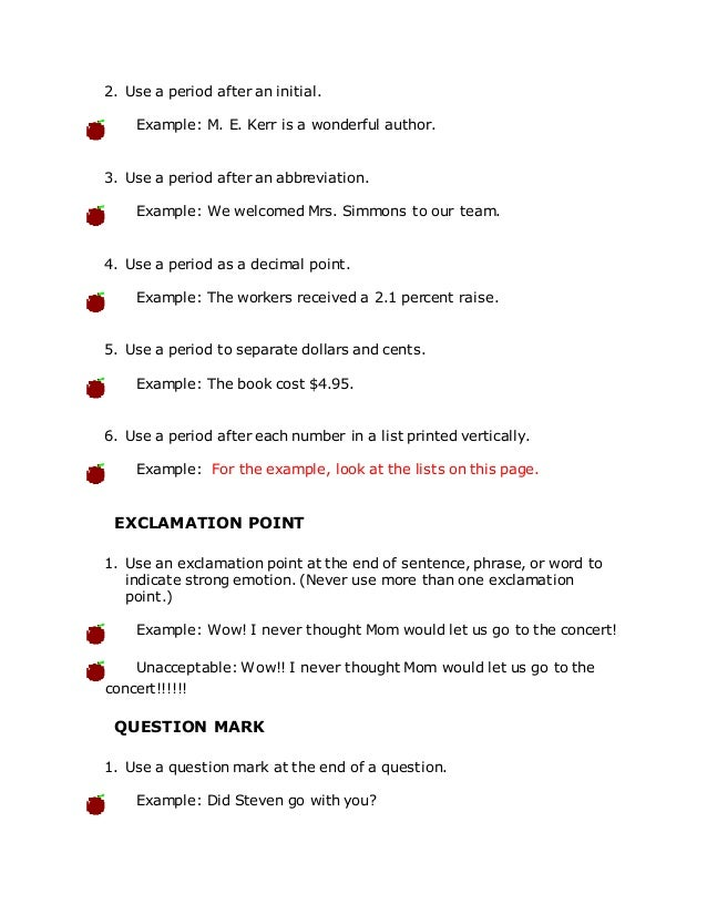 punctuation marks and their uses