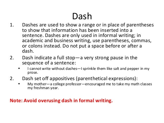dashes in business writing