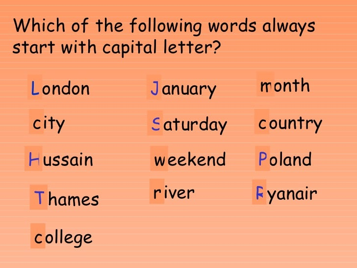 Worksheet Capital Letter English Words punctuation and capital letters e1 e2 postcodes nw6 7uj 2 london l which of the following words always start with letter