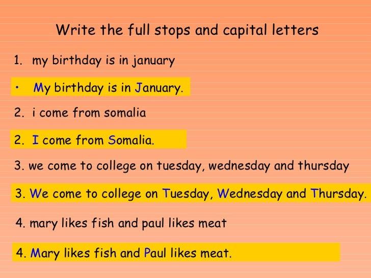 Punctuation and capital letters E1 - E2