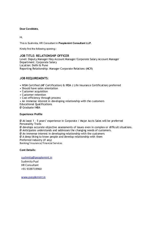 Dear Candidate, Hi, This is Sushmita, HR Consultant in Peoplemint Consultant LLP. Kindly find the following opening:- JOB ...