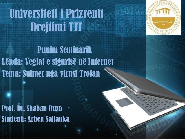 Universiteti i Prizrenit  Drejtimi TIT  Punim Seminarik  Lënda: Veglat e sigurisë në Internet  Tema: Sulmet nga virusi Tro...