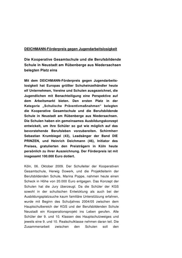 DEICHMANN-Förderpreis gegen JugendarbeitslosigkeitDie Kooperative Gesamtschule und die BerufsbildendeSchule in Neustadt am...