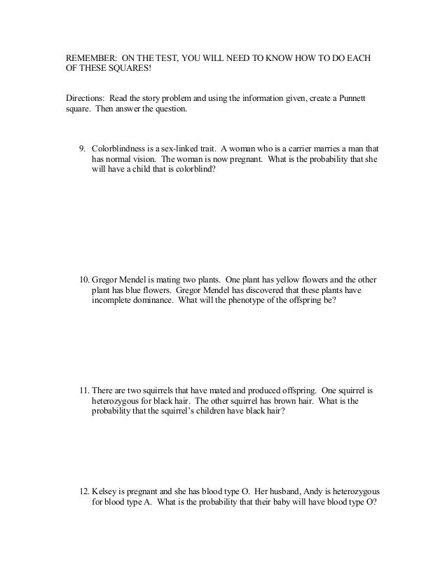 Punnett Squares Review Worksheet – Sex Linked Punnett Square Worksheet