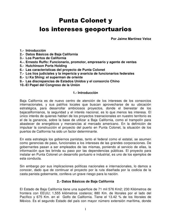 Punta Colonet y             los intereses geoportuarios                                                             Por Ja...