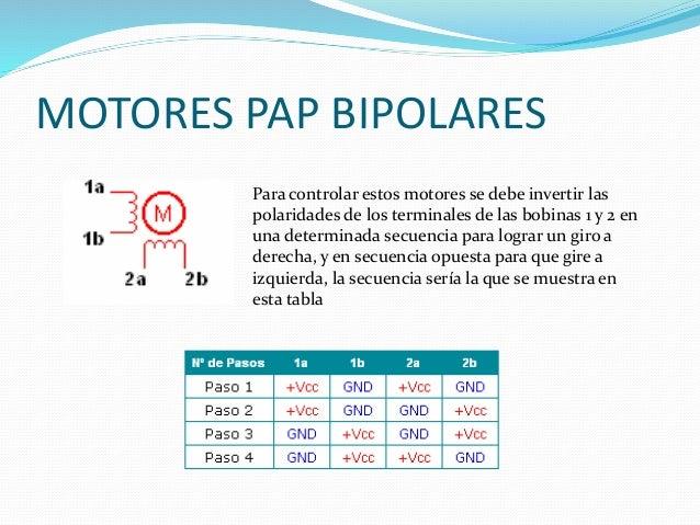 MOTORES PAP BIPOLARES Para controlar estos motores se debe invertir las polaridades de los terminales de las bobinas 1 y 2...