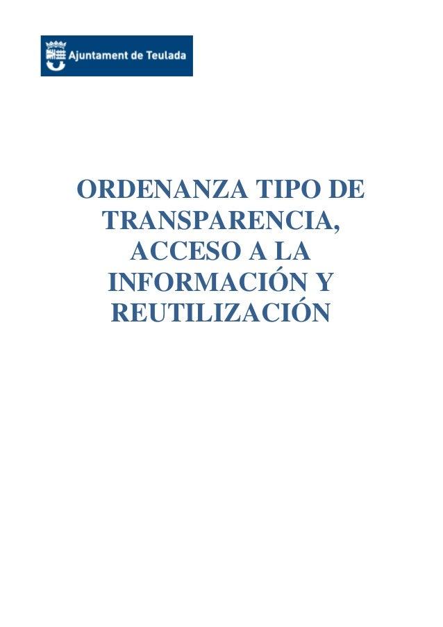ORDENANZA TIPO DE TRANSPARENCIA, ACCESO A LA INFORMACIÓN Y REUTILIZACIÓN
