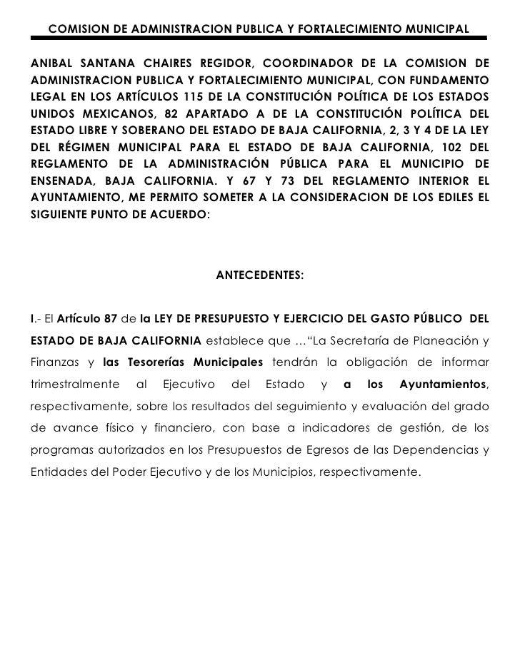 COMISION DE ADMINISTRACION PUBLICA Y FORTALECIMIENTO MUNICIPALANIBAL SANTANA CHAIRES REGIDOR, COORDINADOR DE LA COMISION D...