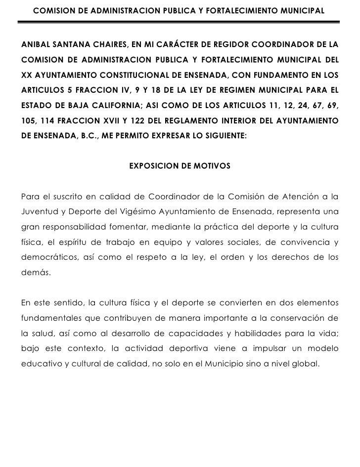 COMISION DE ADMINISTRACION PUBLICA Y FORTALECIMIENTO MUNICIPALANIBAL SANTANA CHAIRES, EN MI CARÁCTER DE REGIDOR COORDINADO...