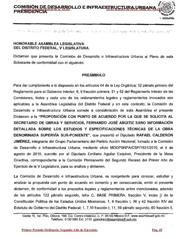 ·COMISiÓN DE DESARROLLO E INFRAESTRUCTURA URBANA ~:~i~ PRESIDENCIA '1)~~ HONORABLE ASAMBLEA LEGISLATIVA DEL DISTRITO FEDER...