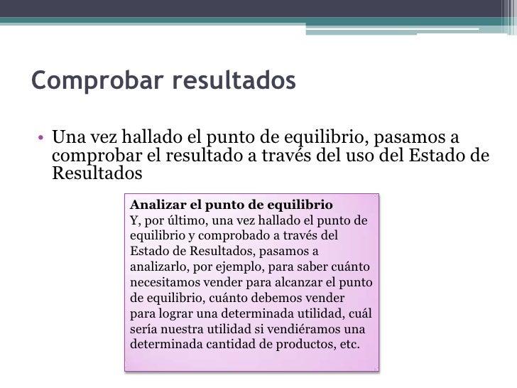 Comprobarresultados<br />Una vez hallado el punto de equilibrio, pasamos a comprobar el resultado a través del uso del Est...