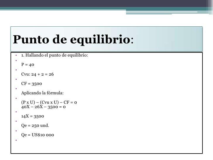 Punto de equilibrio:<br />1. Hallando el punto de equilibrio:<br />P = 40<br />Cvu: 24 + 2 = 26<br />CF = 3500<br />Aplica...