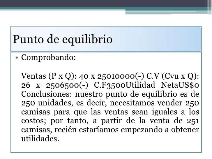 Punto de equilibrio<br />Comprobando:<br />Ventas (P x Q): 40 x 25010000(-) C.V (Cvu x Q): 26 x 2506500(-) C.F3500Utilidad...