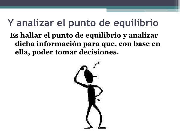 Y analizar el punto de equilibrio<br />Es hallar el punto de equilibrio y analizar dicha información para que, con base en...