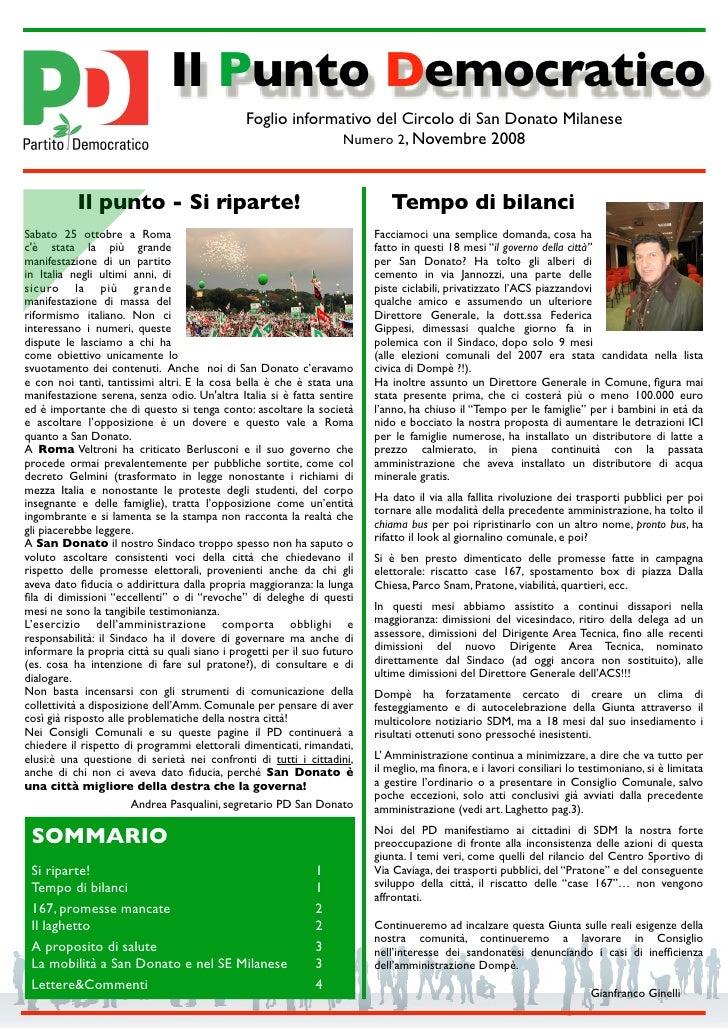 Il Punto Democratico                                                Foglio informativo del Circolo di San Donato Milanese ...