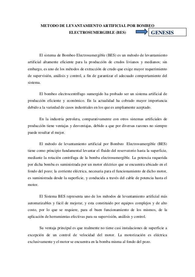 METODO DE LEVANTAMIENTO ARTIFICIAL POR BOMBEO                           ELECTROSUMERGIBLE (BES)                           ...