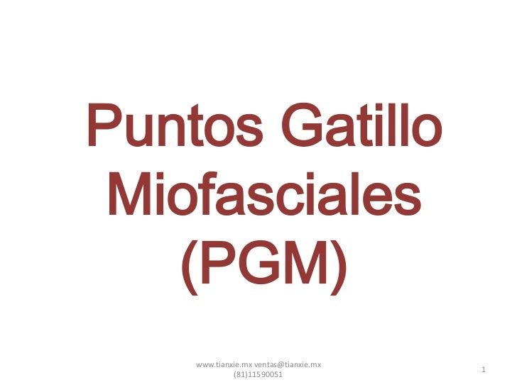 Puntos Gatillo Miofasciales   (PGM)    www.tianxie.mx ventas@tianxie.mx                                       1           ...