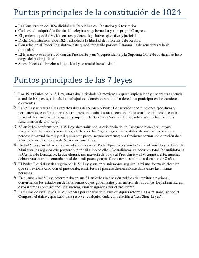 Puntos principales de la constitución de 1824 La Constitución de 1824 dividió a la República en 19 estados y 5 territorios...