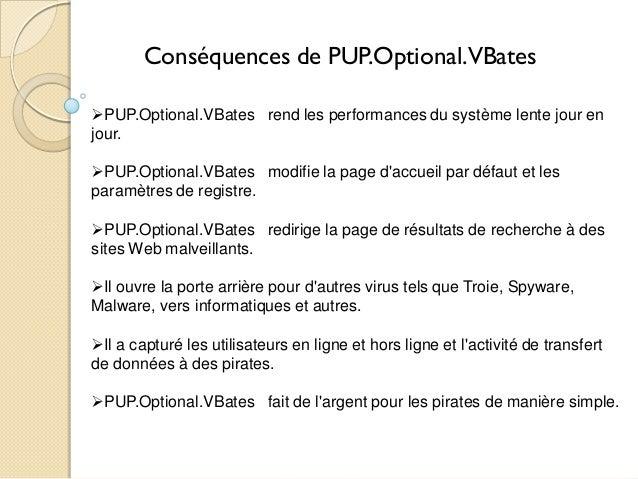 Conséquences de PUP.Optional.VBates PUP.Optional.VBates rend les performances du système lente jour en jour. PUP.Optiona...