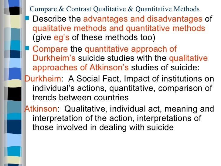 a menu of qualitative and quantitative