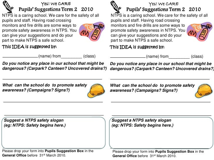 Yes! We CARE                                             Yes! We CARE          Pupils' Suggestions Term 2 2010            ...