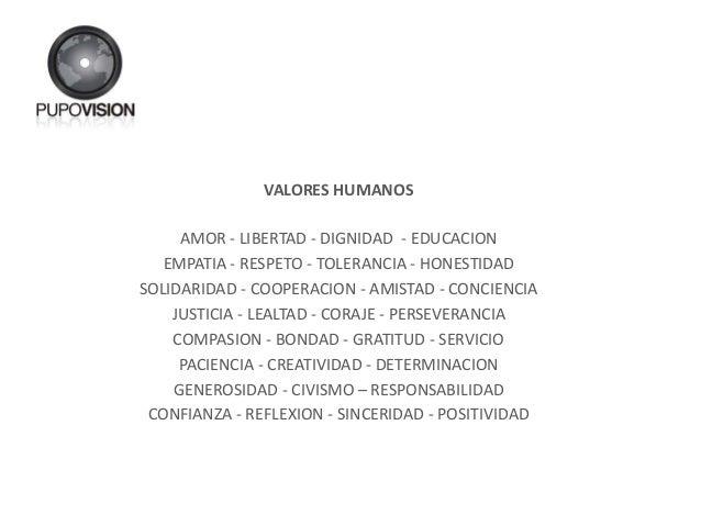 VALORES HUMANOS AMOR - LIBERTAD - DIGNIDAD - EDUCACION EMPATIA - RESPETO - TOLERANCIA - HONESTIDAD SOLIDARIDAD - COOPERACI...