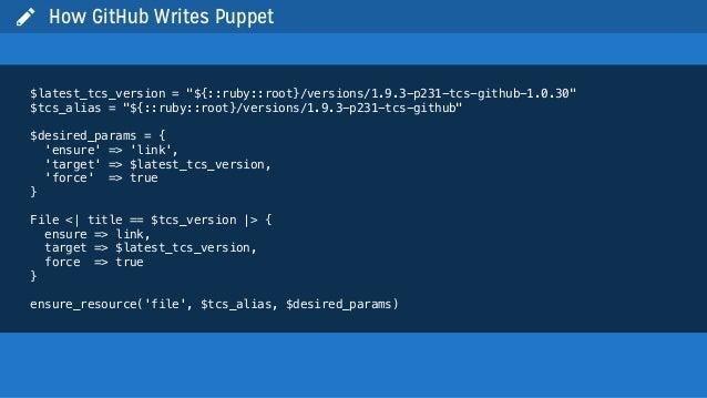 " How GitHub Writes Puppet$latest_tcs_version = ""${::ruby::root}/versions/1.9.3-p231-tcs-github-1.0.30""$tcs_alias = ""${::r..."