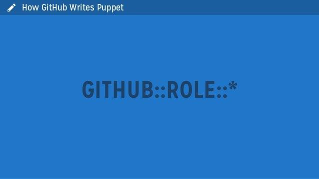  How GitHub Writes PuppetGITHUB::ROLE::*